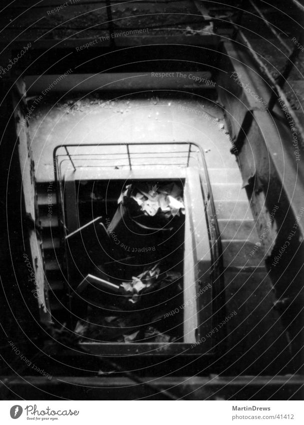 outline Dismantling House (Residential Structure) Staircase (Hallway) Architecture Black & white photo Old Destruction