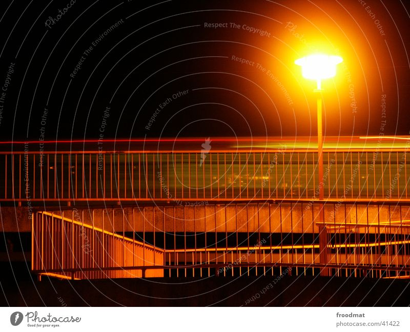 Static dynamics or sun on the stem Street lighting Lamp Light Long exposure Cottbus Handrail Dynamics Car Sun on a stick Construction