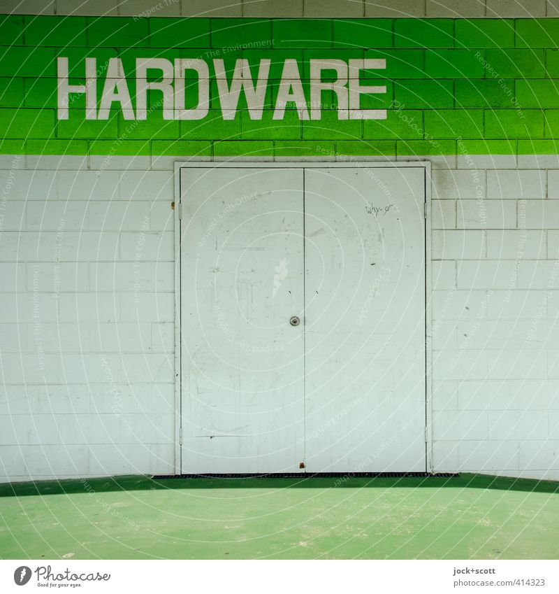 Hardware Store Trade Metalware Queensland Building Architecture Ramp Metal door Brick Line Stripe Sharp-edged Simple Firm Green White Moody Cleanliness