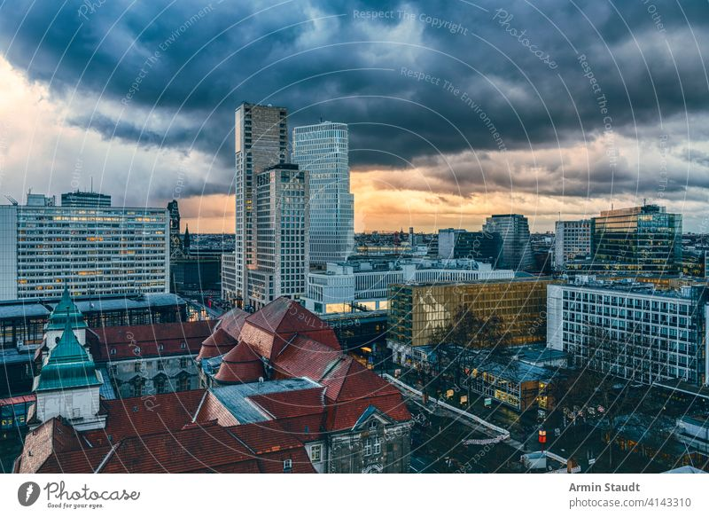 panorama of Berlin near zoo with dramatic sky Zoo architecture berlin building capital charlottenburg church city cityscape cloudscape europe evening