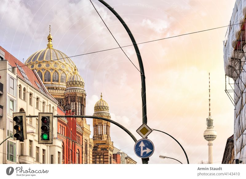 synagoge Berlin and TV tower with traffic light in front architecture attraction berlin building city cityscape construction culture destination downtown europe