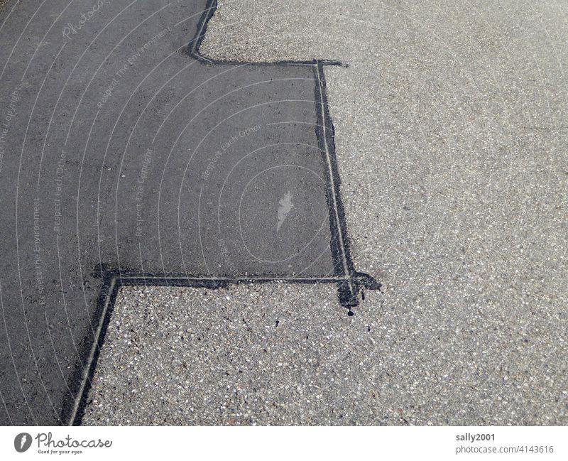Repair work Street Asphalt Traffic lane Lanes & trails Traffic infrastructure Tar geometric At right angles Roadworks