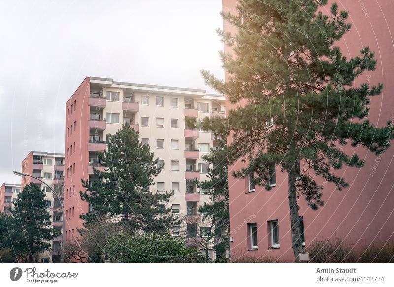 social housing in Berlin, red skyscrapers GDR apartment architecture balcony berlin block building cheap city concrete construction dwelling east europe facade