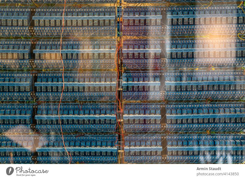 many old blue relays of an vintage computer background board cable capacitor chaos circuitry closeup communication complex connection connector design digital