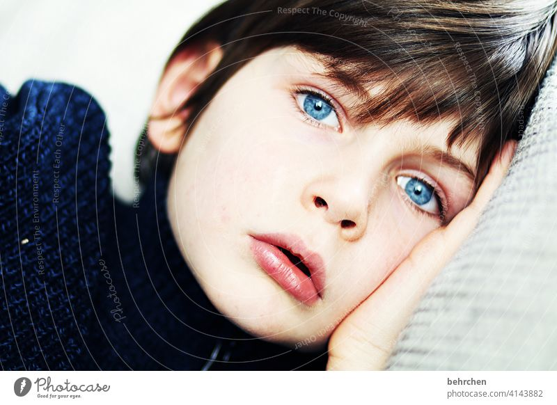 . Child Longing Boy (child) Meditative Infancy Face Close-up Love Day Light Contrast Intensive Family & Relations Interior shot Lips Mouth Son sad melancholy
