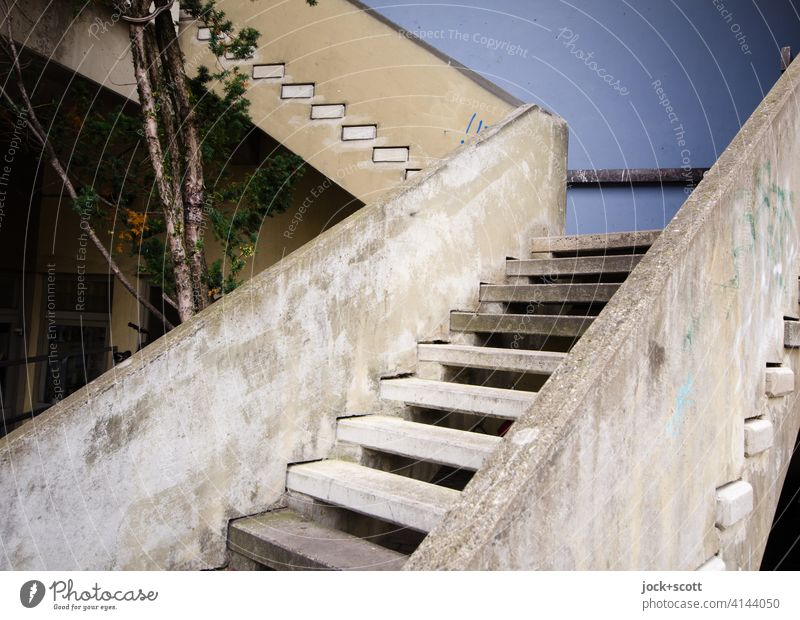 Ascent cast in concrete Architecture Stairs Concrete Level Height difference Structures and shapes Weathered Ravages of time Lanes & trails Authentic Erlangen