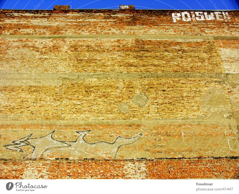 much wall = little sky Frontal Minimal Wall (barrier) Brick Cottbus Photographic technology Graffiti Sky Blue Chimney Old Derelict