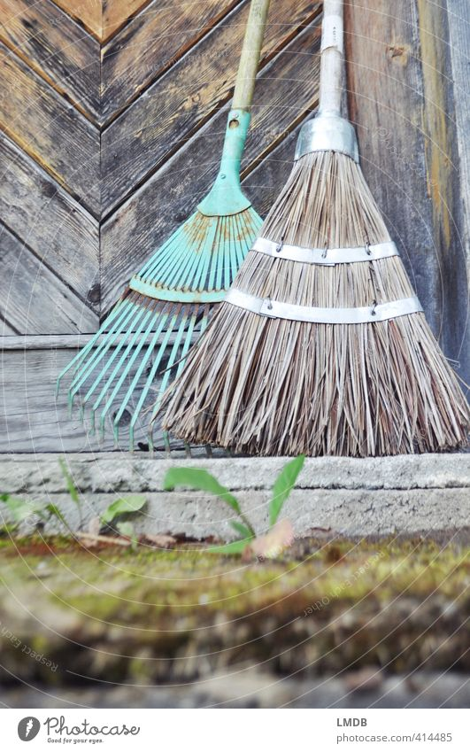 To sweep before one's own door... Kitsch Odds and ends Turquoise Broom Rake Garden Gardening Decoration Entrance Door Gate Doorstep Old Ancient flaking paint