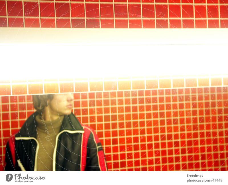 Man Lamp Bathroom Mirror Toilet Tile Guy Partially visible Mosaic