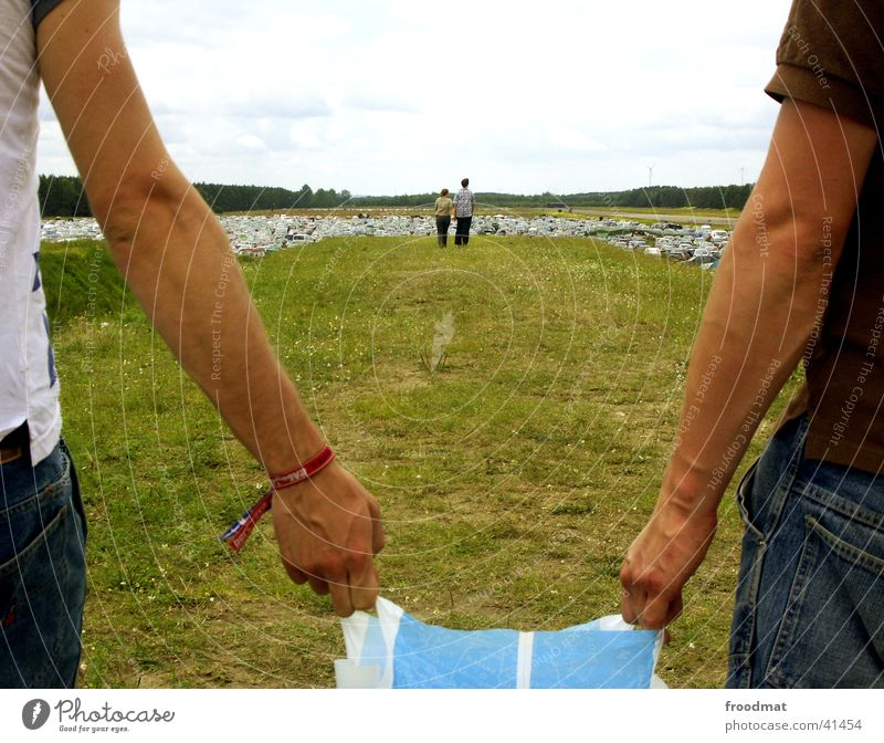 Human being Hand Summer Meadow Grass Arm Parking lot Connectedness Music festival