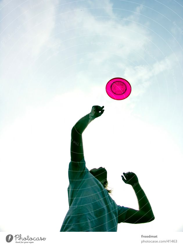 All Frisbees fly high Lifestyle Style Joy Leisure and hobbies Playing Summer Sportsperson Youth (Young adults) Arm Fingers Sky Clouds T-shirt Movement Catch