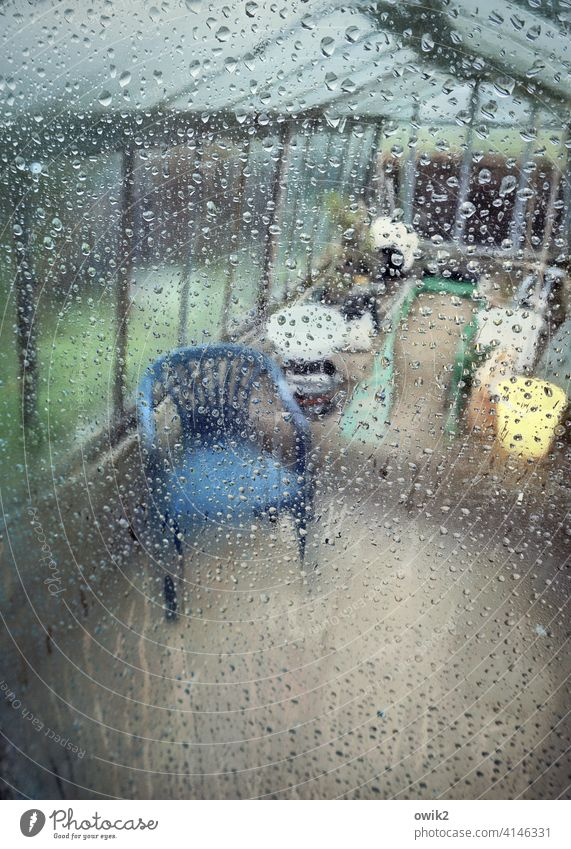 Relaxation room Camping chair Plastic chair Colour photo Detail standstill Peaceful Glass Interior shot Gloomy Lonely Forget Mysterious Transparent