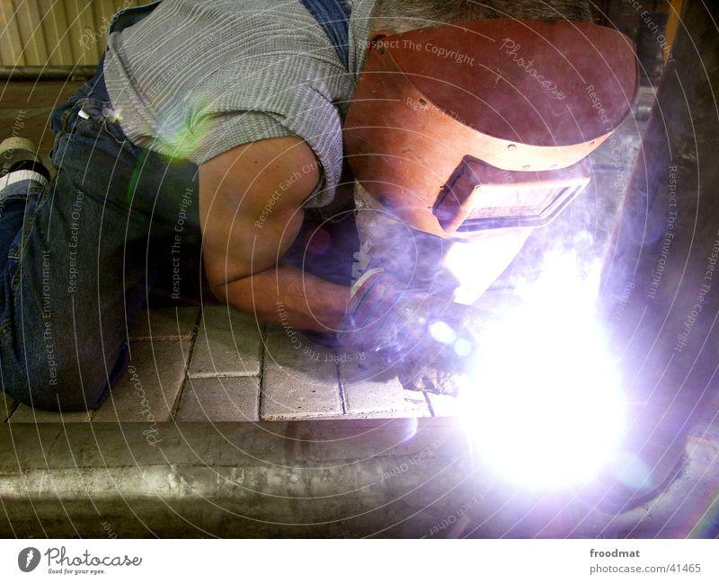 Strong Welding Welding torch Screening Aperture Handyman Crooked Upper arm Man welding technology Power Energy industry Bright Steam power tool