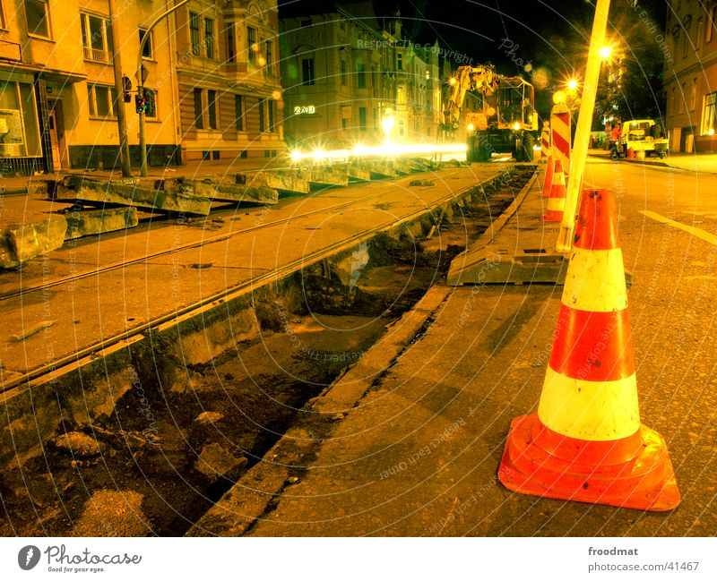Street Work and employment Dirty Concrete Perspective Railroad tracks Machinery Traffic light Tram Excavator Cottbus Conical Night work