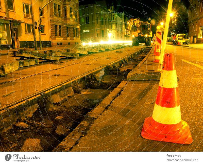 Technical Maintenance #1 Long exposure Railroad tracks Tram Night Traffic light Work and employment Night work Cottbus Machinery Excavator Street Conical
