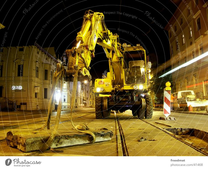 Technical Maintenance #2 Long exposure Railroad tracks Tram Night Traffic light Work and employment Night work Cottbus Machinery Street warning cone Concrete