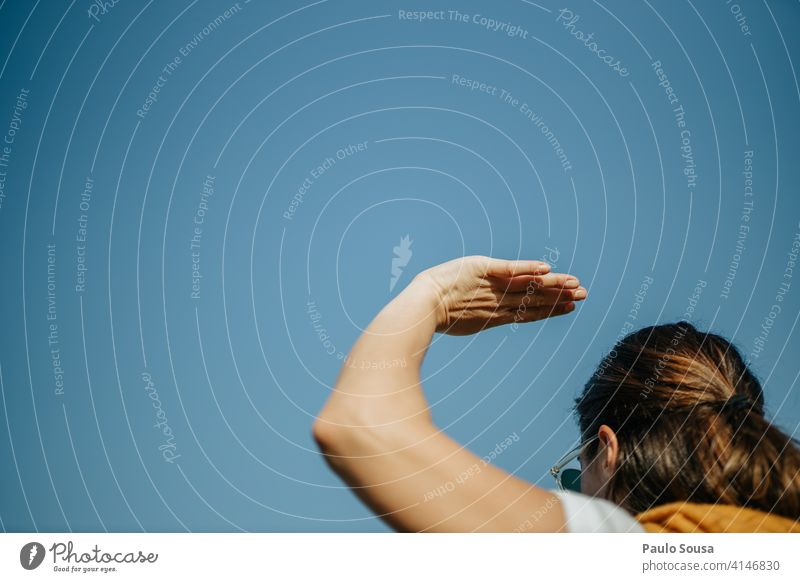 Woman with hand up Close-up Hand body part raised Fingers Body Human being Minimal Street Arm Sunlight Symbols and metaphors Palm of the hand Conceptual design