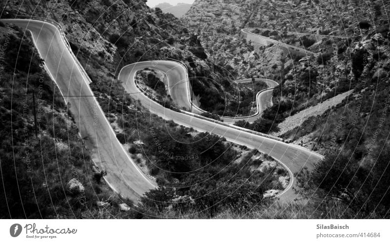 Carrera Railway Environment Nature Landscape Plant Forest Hill Rock Alps Mountain Peak Canyon Road traffic Motoring Street Lanes & trails Winding road Observe