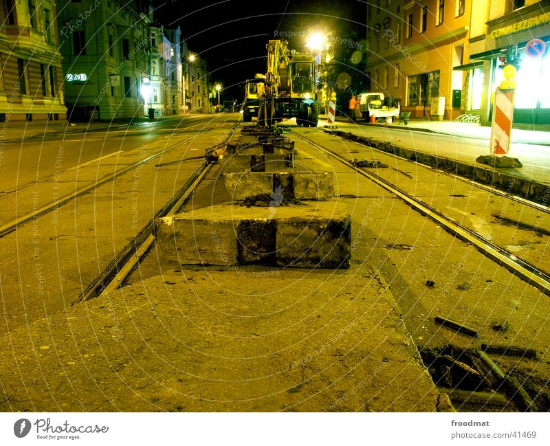 Street Work and employment Dirty Concrete Railroad tracks Machinery Traffic light Tram Cottbus Night work
