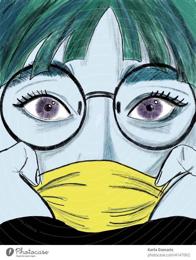 illustration of a woman with blue skin and a yellow mask and green hair female lip character comic speech girl surprise background mouth open retro sexy style