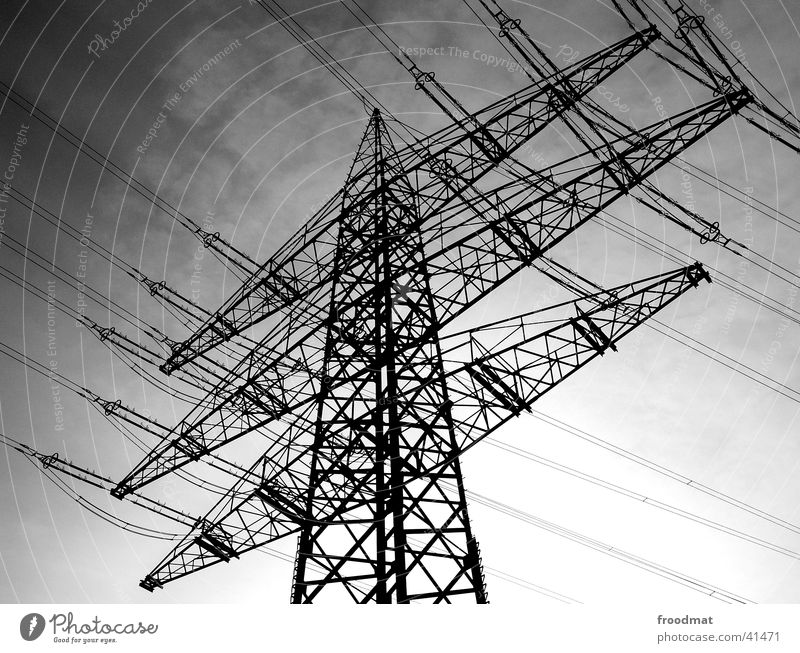 energetic diagonal Electricity Transmission lines Electricity pylon Grating Technical Interlaced Connectedness Electrical equipment Technology Energy industry