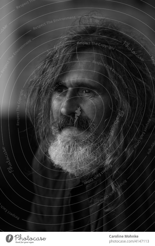 View into the unknown portrait Long-haired Face look Facial hair Man Looking Human being Masculine Adults Head Gray-haired grey beard Contentment Authentic