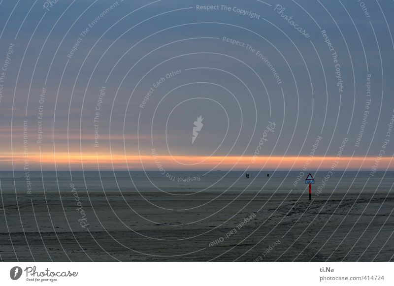SPO | Light on the horizon Summer Coast North Sea Eyderstedt St. Peter-Ording Relaxation Infinity Blue Gray Orange Red Loneliness Horizon Tourism Colour photo