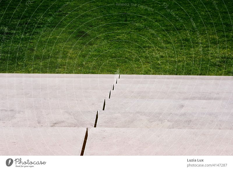 Steps, underneath lawn in public space. No one's here yet... Town stagger Stone steps Lawn Places urban Stairs Architecture Deserted Exterior shot Downward