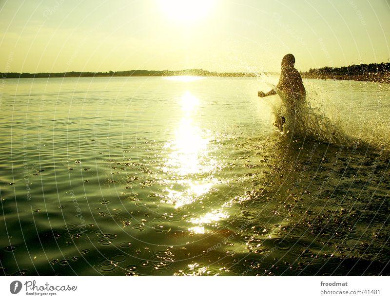 Water Sun Summer Beach Joy Lake Moody Swimming & Bathing Drops of water Action Running Dynamics Splash of water Lake Baggersee