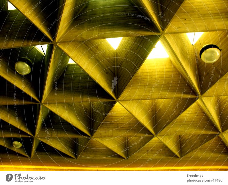 Lamp Wait Architecture Airport Cologne Deep Ceiling Triangle Honey-comb