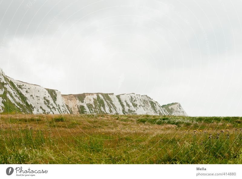 The poet, the poet ... Environment Nature Landscape Sky Clouds Grass Meadow Rock Cliff Steep face Limestone rock Dover England Kent Europe Natural