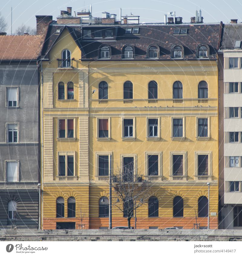 Budapest town house Facade Architecture Town house (City: Block of flats) Bank reinforcement Authentic Orange Style Sunlight Colour scheme Structures and shapes