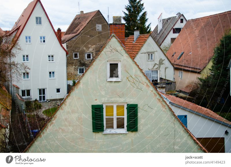 triangular wall formed by a sloping roof Old town Panorama (View) city view Architecture Nördlingen Roofscape Gable roofs Facade Authentic