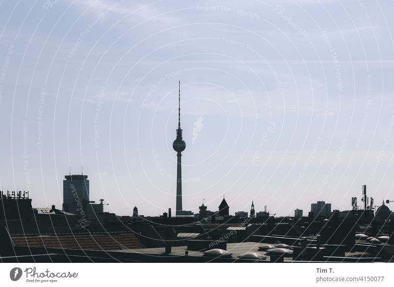 the skyline of East Berlin Television tower Skyline Berlin TV Tower Capital city Landmark Tourist Attraction Architecture Downtown Town Downtown Berlin