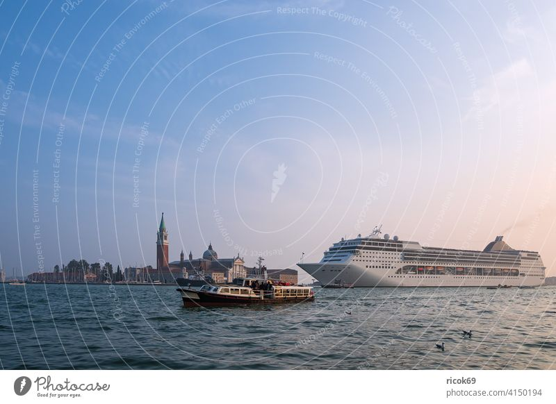 View of the island San Giorgio Maggiore with cruise ship in Venice, Italy Church boat Cruise liner Town Architecture San Marco vacation voyage Autumn Basilica