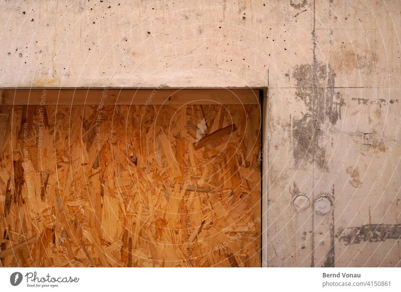 OSB OSB board site-face concrete Concrete Construction site Build House (Residential Structure) Wall (building) Brown Wood Gray Wall (barrier) Window