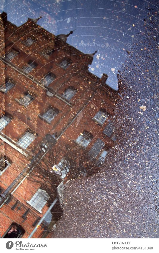 Lübeburg puddle Puddle reflection House (Residential Structure) Historic Old town Luneburg Water Floor covering dwell Building Surrealism