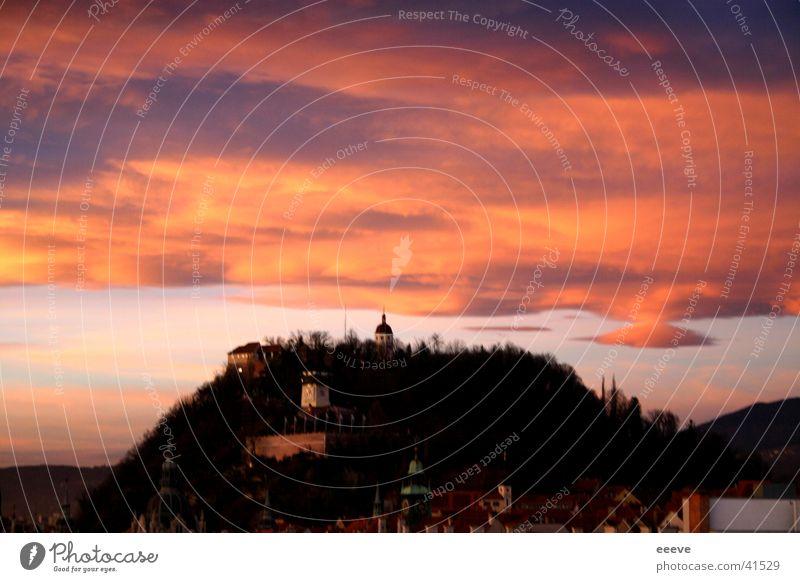 sunset Red Graz Clouds Sunset Evening Sky