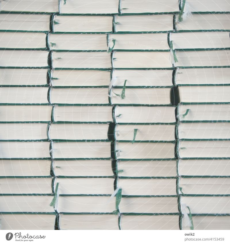 Stocktaking Song book Many Stack Interior shot Long shot Deserted Colour photo Subdued colour Structures and shapes Pattern quantity Paper Arrangement Equal