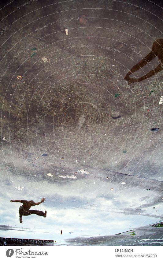 Hadouken Puddle reflection Martial arts Beat Water battle surreal Ground Reflection Jostle Adversary Karate