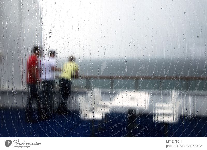 3 guys Guys men Navigation Ferry travel vacation Together Friends Rain Drop Slice Gray Change in the weather ship