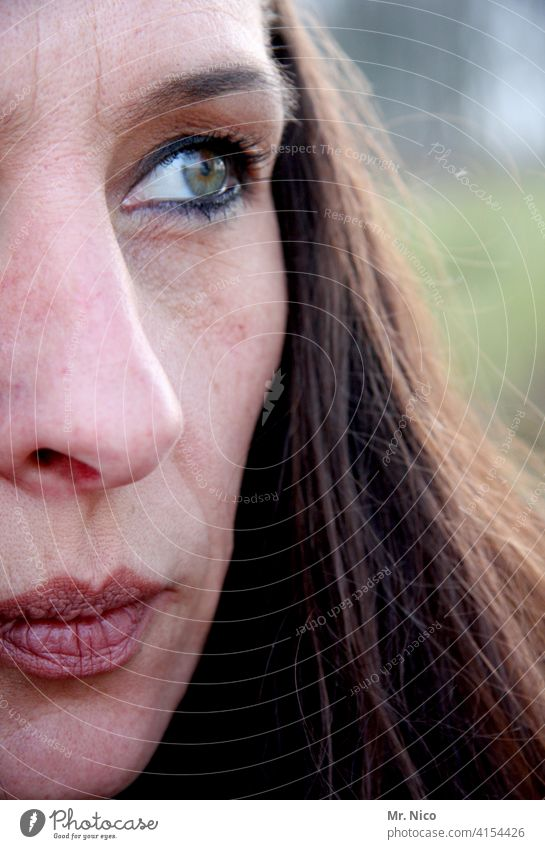 half of the face Hair and hairstyles portrait Face Feminine Woman Lips Mouth Nose Eyes Head Long-haired naturally Detail of face Self-confident