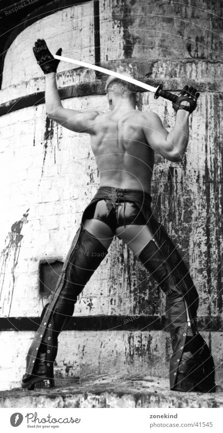 protector Sword Man Eroticism Black & white photo