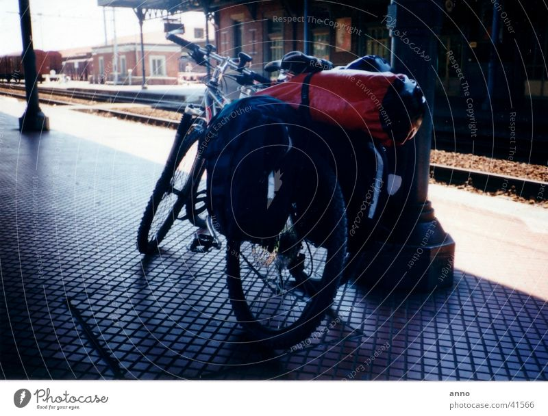long journey Bicycle Luggage Cycling tour Vacation & Travel Overload Break Stop Transport Train station arrived