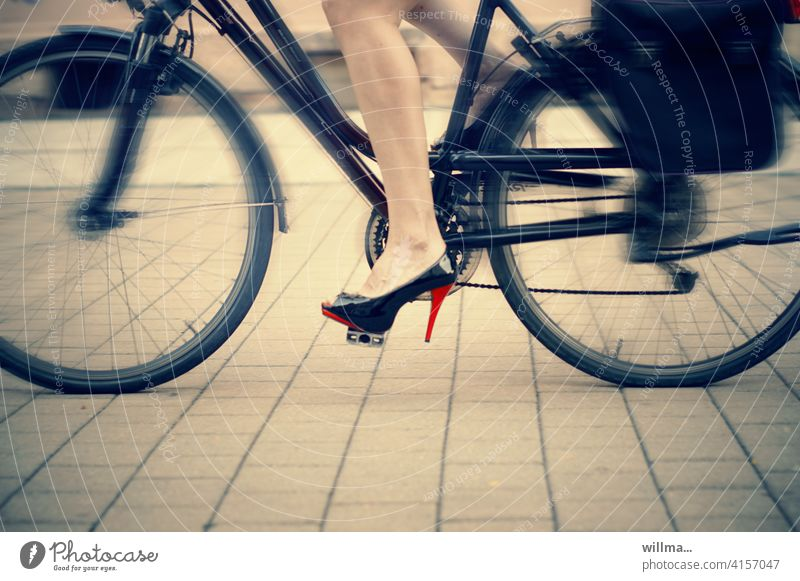 Honey, I'm gonna make a quick run to the market... high heels Cycling High heels Bicycle Women's legs Movement cyclists Speed swift sexy bicycle girl Lifestyle