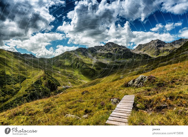 End and new beginning Trip Freedom Summer Mountain Hiking Nature Landscape Sky Clouds Spring Beautiful weather Grass Alps Lanes & trails Gigantic Infinity Tall