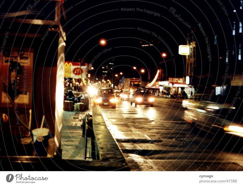 Man City Black Dark Car Rain Road traffic Transport Speed Energy industry USA Night Store premises Society New York City Floodlight