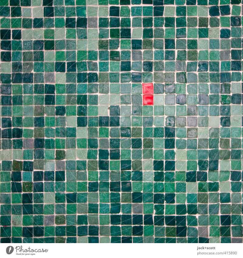 two small Red/squared Green Wall (building) Style Wall (barrier) Small Stone Line Decoration Arrangement Esthetic Many Attachment Contact Tile Relationship