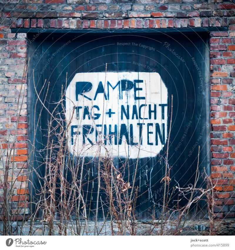 Day + Night .... Winter Bushes Downtown Berlin Gate Ramp Wood Brick Signage Warning sign Old Free Nerdy Retro Town Moody Acceptance Endurance Nostalgia Bans