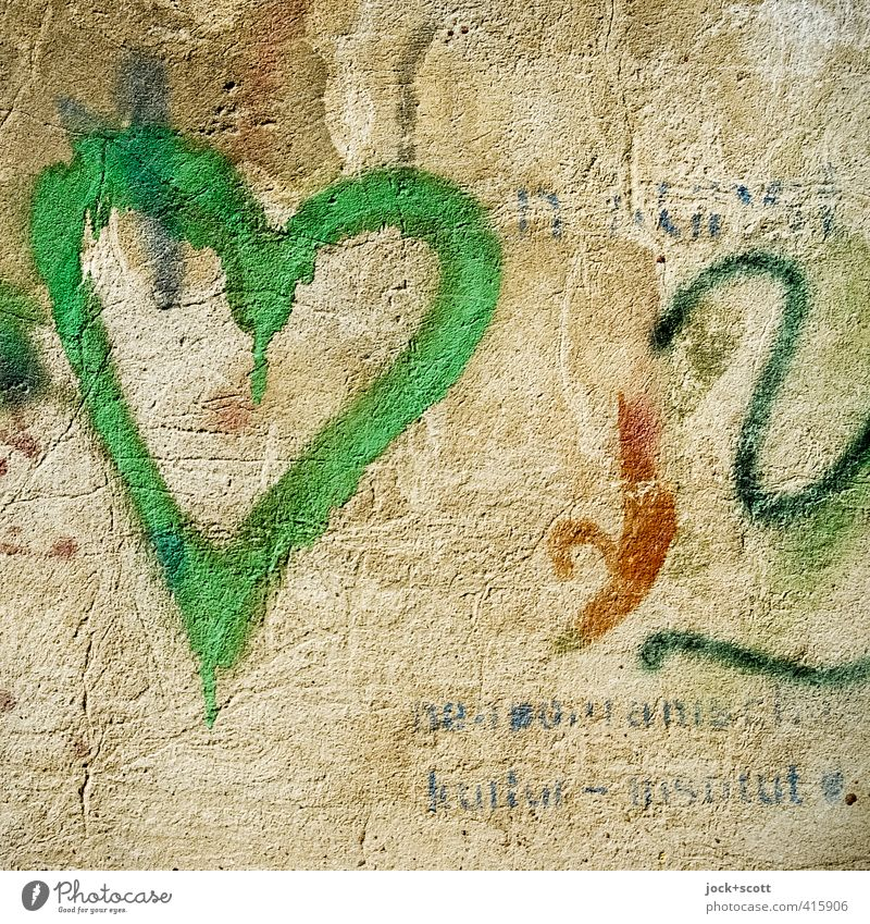Old Beautiful Green Warmth Wall (building) Graffiti Wall (barrier) Happy Authentic Characters Creativity Heart Simple Uniqueness Romance Hope
